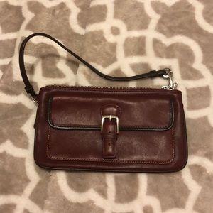 Coach Wristlet Burgundy Super Cute Leather